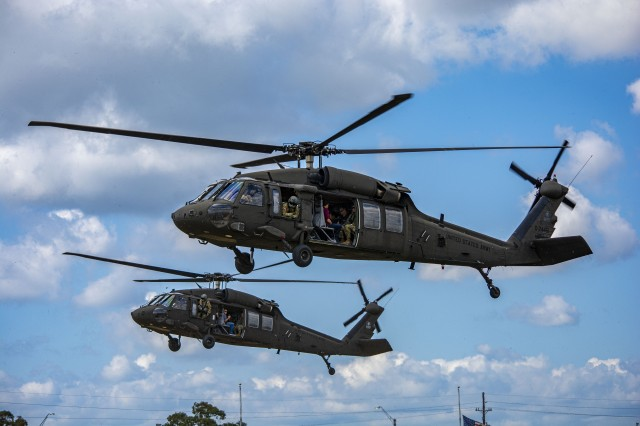 Civilian employers who participated in the Employee Support of Guard and Reserve (ESGR) Boss Lift, hosted by 1st Battalion, 158th Aviation Regiment, 11th Expeditionary Combat Aviation Brigade, got the opportunity to fly in a UH-60 Black Hawk helicopter on Oct. 19, in Conroe, Texas.