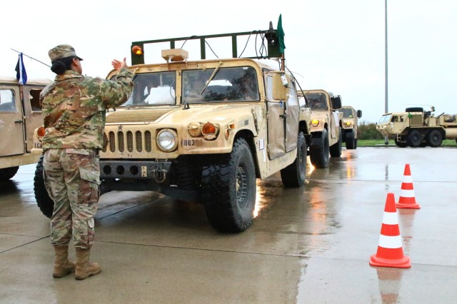 U.S. Army Soldiers with the 2nd Armored Brigade Combat Team, 1st Cavalry Division, from Fort Hood, Texas, arrive in Magdeburg, Germany, on their way to Poland, Oct. 16, 2019. The 1st Cavalry Division Soldiers are on a nine-month rotation in support of Operation Atlantic Resolve. (U.S. Army photo by Spc. Joseph Knoch)