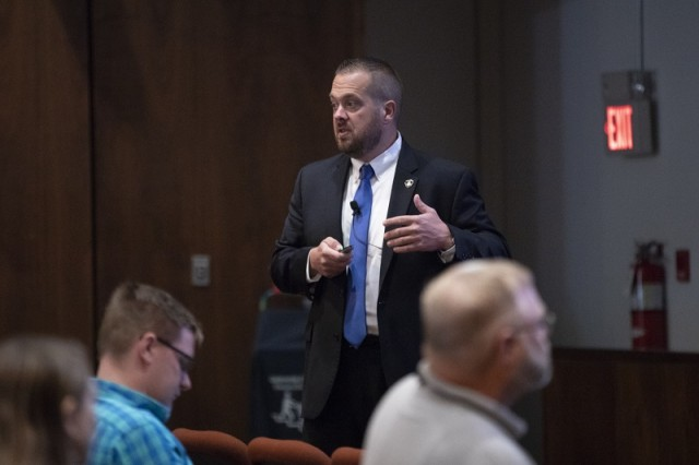 PICATINNY ARSENAL, N.J. - Brad Seabury, Chief Assistant Prosecutor with the Morris County Prosecutor's Office, speaks with Picatinny Arsenal employees about the current trends of opioid use in Morris County.