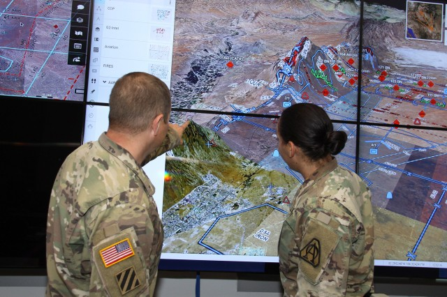 Maj. Gen. David Bassett, Program Executive Officer for Command, Control and Communications (C3T) and Maj. Gen. Douglas Crissman, Director of the U.S. Army Mission Command Center of Excellence (MCCoE) describe how elements of the Command Post Computing Environment (CPCE) will field during the Army's Capability Set 21, with initial convergence of Mission Command applications in the areas of operations, plans and orders and joint common operating picture capabilities. CS 23 will leverage artificial intelligence and machine learning to bring in tactical cloud capabilities where applicable. (Photo credit: Dan Lafontaine, CCDC C5ISR Center)
