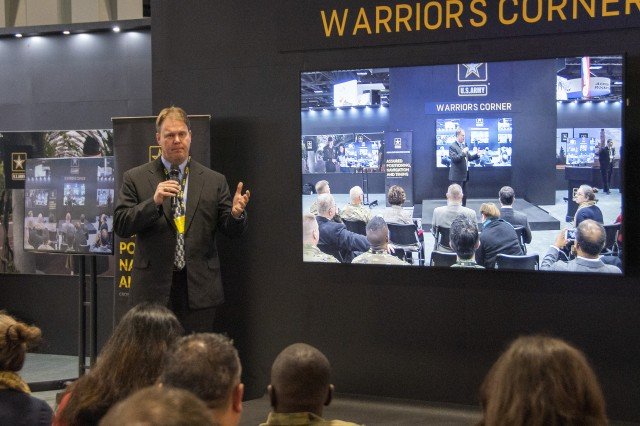 Willie Nelson, director of Army Futures Command's Assured Positioning, Navigation and Timing Cross-Functional Team, speaks during the Association of the U.S. Army Annual Meeting and Exposition in Washington, D.C., Oct. 16, 2019.