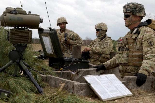 Soldiers with the 173rd Infantry Brigade Combat Team observe an impact zone from a forward observation point during Dynamic Front 2019 in Torun, Poland, March 5, 2019. The Army plans to pilot new tactical space technology during next spring's Defender-Europe 20 exercise that will help Soldiers carry out mission command on a multi-domain battlefield.