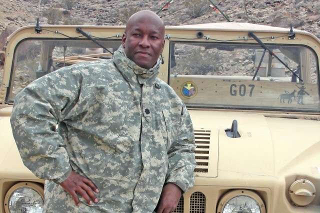 """While assigned to the National Training Center at Fort Irwin, California, in 2009, then-Lt. Col. Sammie L. Hargrove served as the senior logistics trainer and observer-controller, call sign -- """"Goldminer 07."""""""