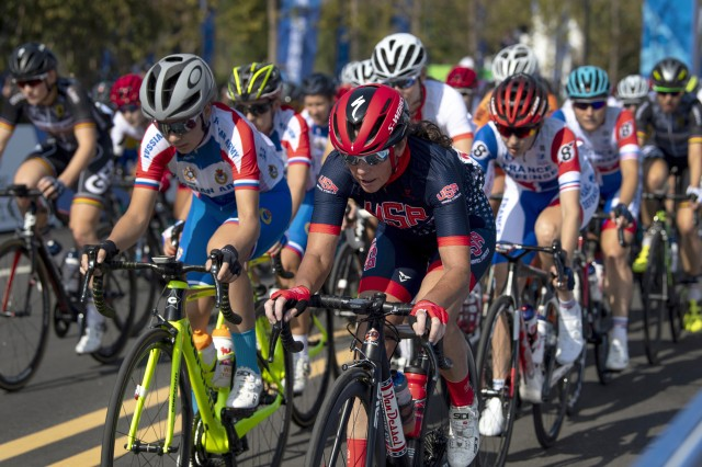 Sgt. 1st Class Maatje Benassi of the U.S. Armed Forces Cycling Team leads the group during the women's road race event of the 2019 CISM Military World Games in Wuhan, China, Oct. 20, 2019. More than 100 teams are competing in 32 sports in the competition.