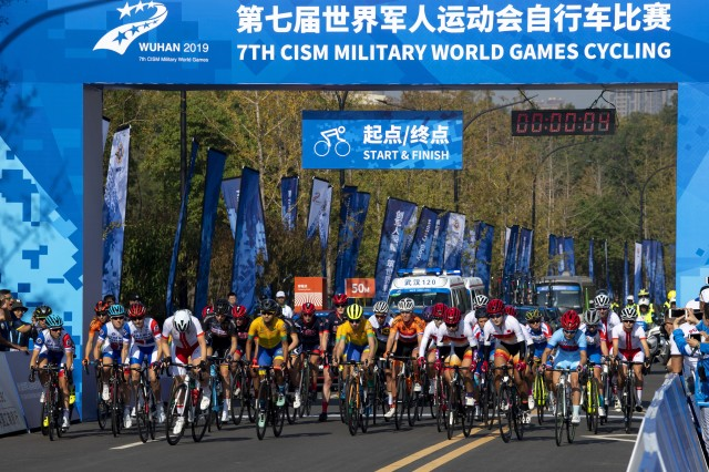 The women's cycling road race event of the 2019 CISM Military World Games begins in Wuhan, China, Oct. 20, 2019. More than 100 teams are competing in 32 sports in the competition.