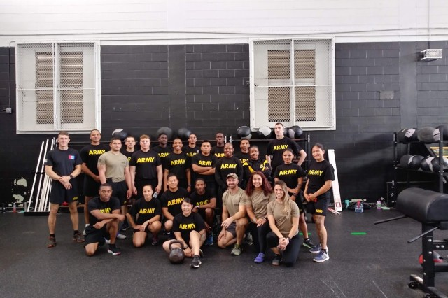 Sgt. 1st Class Cound, 82nd ADSB Master Fitness Trainer, facilitated the hands on functional fitness training alongside PTAs from the 18th Airborne Corps SPARTA Program, Oct. 9, at Tucker PEC.