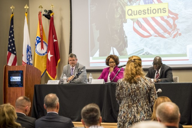 Three Regional Operations directors, from the U.S. Army Security Assistance Command, answer questions on Foreign Military Sales, at the 2019 North Alabama International Trade Association's Foreign Military Sales Industry Day event, to more than 200 business and defense industry representatives, 25 Sept 19, in Huntsville AL. USASAC manages the Army's Security Assistance Enterprise, and relies on defense industry partners to support the readiness and enhance the capabilities of allies and partners. (USASAC public Affairs photo by Richard Bumgardner)
