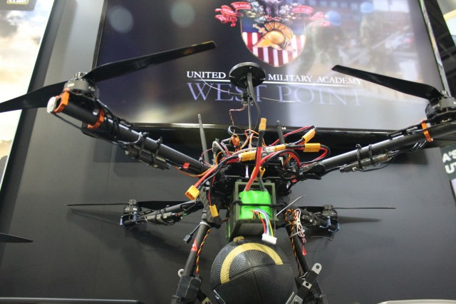 The technology from the Autonomous Drone Delivery from Airdrop System that has been developed through the first two years of the project at West Point was recently put on display at the Association of the United States Army annual meeting in Washington D.C. (Photo by Katie Daily)