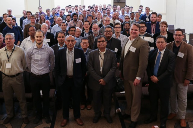 Participants at the Materials in Extreme Dynamic Environments Collaborative Research Alliance fall meeting Oct. 17 in Towson, Maryland, pose for a group photo.