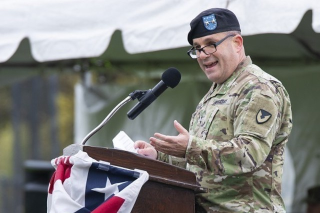 Maj. Gen. Steven Shapiro, commanding general of the U.S. Army Sustainment Command, speaks during a change of responsibility ceremony held Oct. 22 on Memorial Field at Rock Island Arsenal.  (Photo by Linda Lambiotte, ASC Public Affairs)