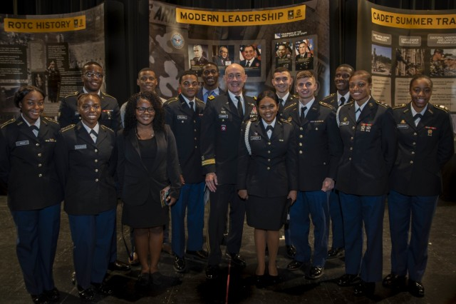 Lt. Gen. Charles D. Luckey, Chief of the Army Reserve and commanding general of U.S. Army Reserve Command, and ROTC cadets, who commissioned into the Army Reserve, pose for a portrait after a development conference for ROTC cadets at Howard University, Washington, Nov. 7, 2018. The conference included cadets from 22 universities and 10 senior leaders from the U.S. Army.