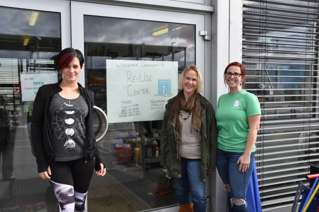 WIESBADEN, Germany -- Tanja Virtanen (from left), Kelley Scrocca and Alicia Bailey volunteer their time to keep the Re-Use Center open on Clay Kaserne.