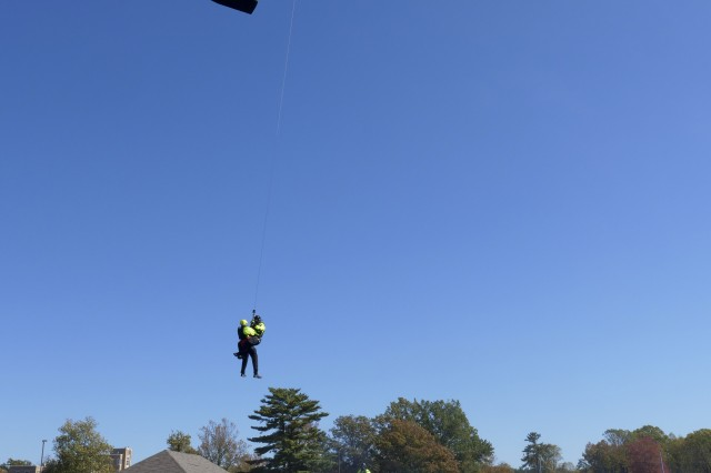 The Indiana Army National Guard Helicopter Aquatic Rescue Team and the South Bend Swift Water Rescue Team conduct hoist operations during monthly training Oct. 23-24, 2019, at the Muscatatuck Urban Training Center.