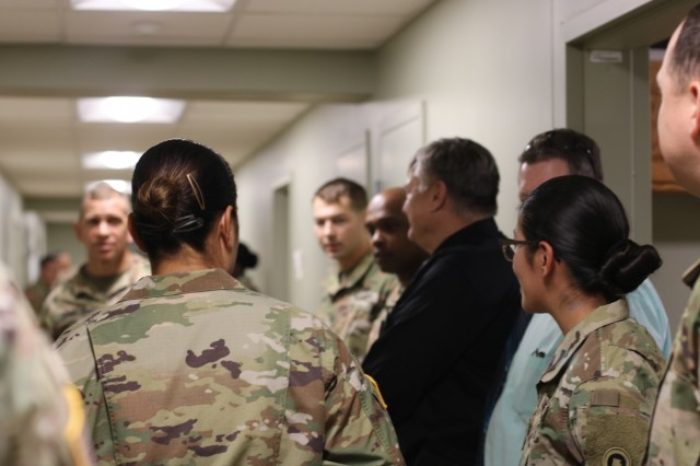 Sgt. Major of the Army Micheal A. Grinston stops by 1st Theater Sustainment Command's barracks to check quality of living during his visit to Fort Knox Oct. 23, 2019.  (U.S. Army photo by Sgt. Nahjier Williams)