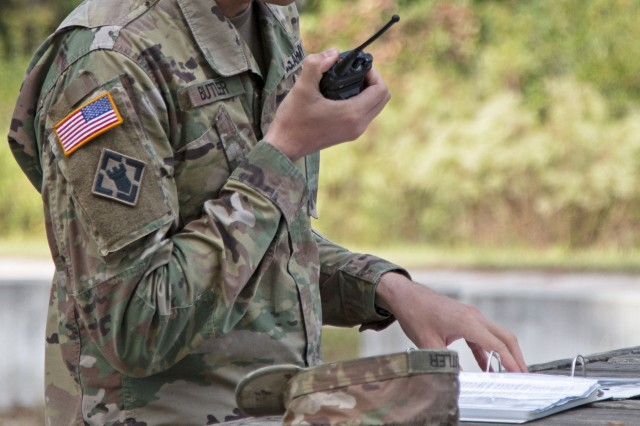 1st Lieutenant Zachary Butler, assigned to 530th Clearance Co, 92nd Engineer Battalion, 3rd Infantry Division, and the officer-in-charge of a demolition training event radios in the demo range status before conducting a confidence charge, Oct. 17, 2019, at Fort Stewart, Georgia. This demolition range was the first major training event for the Engineers Bn. after their return from supporting the war effort in the Middle East. (U.S. Army photo by Sgt. Arjenis Nunez)