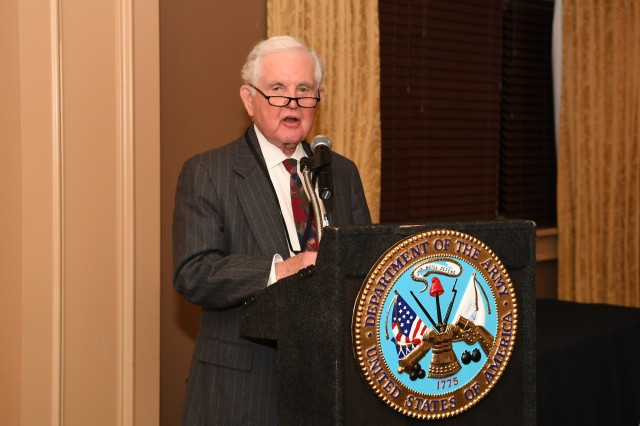 Retired Lt. Gen. Jack Woodmansee speaks during an awards ceremony for the Army Science Board at the Army Navy Country Club in Arlington, Va., Sept. 17, 2019. Woodmansee received this year's Braddock Award for his 19 years of service on the science board.