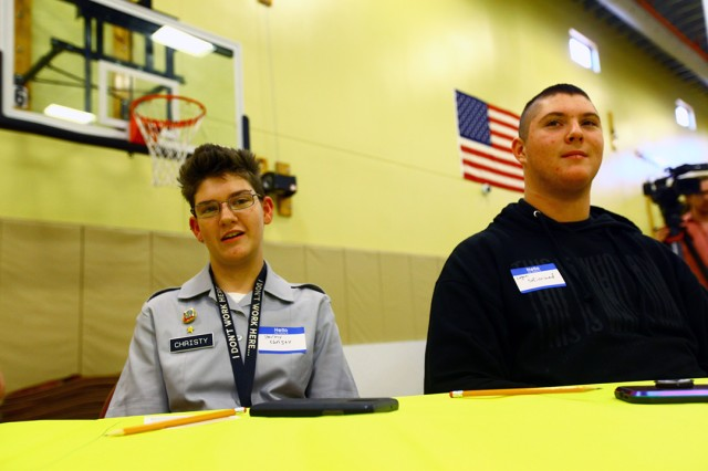 Stormy Christy, 14, and Logan Strickland, 16, introduce themselves as participants at the Raytheon Design Charette Oct. 23, 2019, at the Fort Sill Youth Center. They explained why they were at the charrette; and what their happy place was. Christy is a freshman, and Strickland is a sophomore, at Lawton High School.