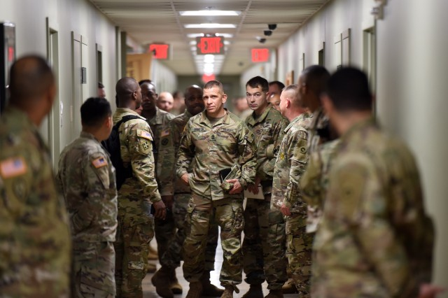 Sgt. Maj. of the Army Michael Grinston, the 16th to hold the position, inspects the barracks of 1st Theater Sustainment Command Oct. 23, 2019. He said he was impressed with how well they kept their rooms after the inspection. Grinston visited Soldiers and leaders at Fort Knox throughout the second half of the week.