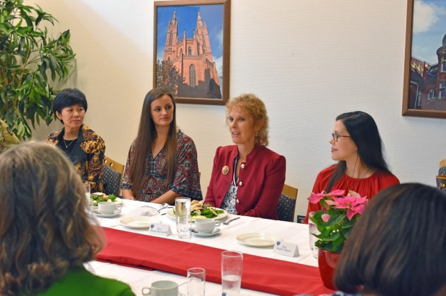 WIESBADEN, Germany -- Army veteran and registered dietitian Maria McConville, spouse of Chief of Staff of the Army Gen. James C. McConville, talks with military spouse home-based business owners and senior leader spouses at a luncheon Oct. 24, 2019, on Hainerberg. The forum was part of a tour of U.S. Army Garrison Wiesbaden Oct. 23-25 during which Maria McConville spoke with personnel and military spouses about some of the challenges they face and the contributions they make to the community.
