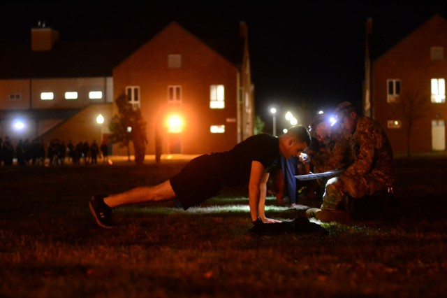Soldiers from 1st Battalion 17th Infantry Regiment conduct a physical fitness test in preparation for Expert Infantry and Expert Soldier Badge Testing later in the month at Joint Base Lewis-McChord, Wash., Sept. 30, 2019.  This is the first time an Army unit will conduct the new Expert Soldier Badge in conjunction with the Expert Infantry Badge testing.
