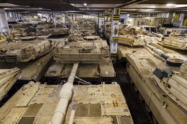 Army vehicles with 1st Armored Brigade Combat Team, 1st Infantry Division, are shown staged and secured on a Roll-on Roll-off Carrier (Ro-Ro) vessel for transport back to the U.S., at the port of Bremerhaven, Germany Oct. 21, 2019. The Big Red One Soldiers have been deployed throughout Eastern Europe for the last nine months as a rotational force in support of U.S. Army Europe and Atlantic Resolve. (U.S. Army photo by Sgt. Thomas Mort)