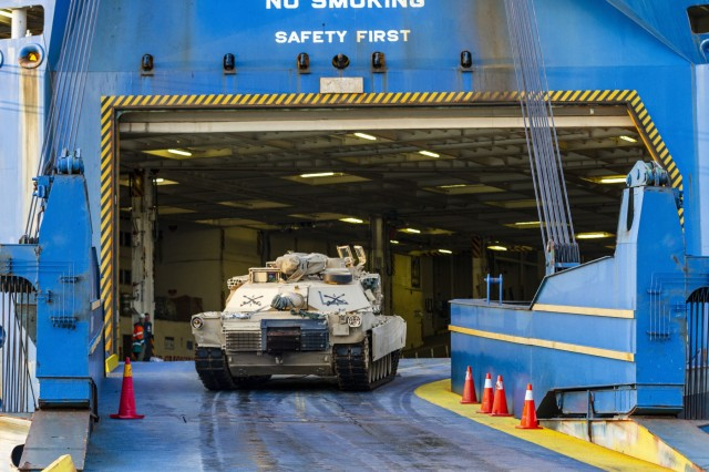 A U.S. Army M1 Abrams Tank with 1st Armored Brigade Combat Team, 1st Infantry Division, drives up the ramp of a Roll-on Roll-off Carrier (Ro-Ro) vessel at the port of Bremerhaven, Germany Oct. 18, 2019.  The Big Red One Soldiers have been deployed throughout Eastern Europe for the last nine months as a rotational force in support of U.S. Army Europe and Atlantic Resolve. (U.S. Army photo by Sgt. Thomas Mort)