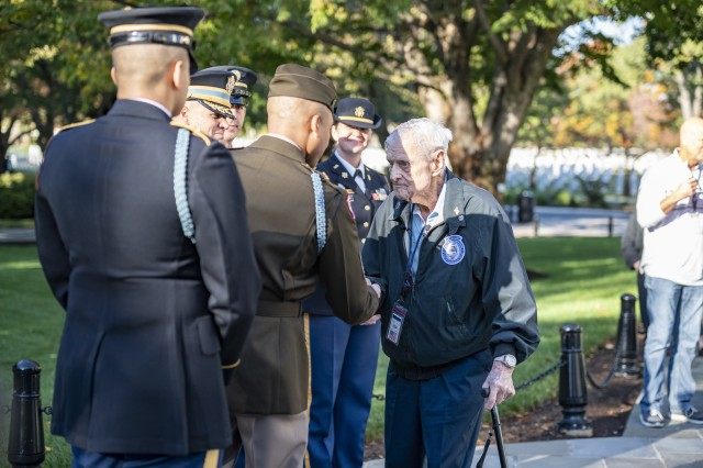 World War II veteran Jack Eaton, 100, is greeted by Soldiers at Arlington National Cemetery, Va., Oct. 23, 2019. Eaton, a former Army corporal, served as a sentinel at the Tomb of the Unknown Soldier from 1938-1940.