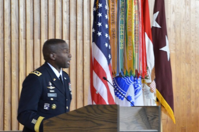 """During an emotional ceremony that featured a large family, a lifetime of mentors and teachers, and about 500 friends, R. Scott Dingle, The Army Surgeon General, was promoted to lieutenant general on Oct. 17, 2019, at the Fort Myer Memorial Chapel, Joint Base Myer-Henderson Hall.  Dingle personally thanked and recognized a long list of family members, leaders, and friends from surgeons general to sergeants major, from football coaches to clergy, from university presidents to his church family.  """"As the Army modernizes, as the MHS transitions and changes occur, Army Medicine will not be left behind, so that when we are called upon to ensure the strength of our warfighters, when we are called upon to ensure that life, limb and eyesight are saved, when we are called upon to ensure that when the cry for 'medic' is shouted out in combat, that Army Medicine's Soldiers and team from the foxhole to the fixed facility will be ready, reformed, reorganized, responsive and relevant,"""" said Dingle."""