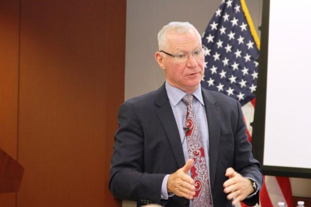 Stuart Hazlett, Deputy Assistant Secretary of the Army (Procurement), led a spirited session at the USACE Kansas City District Fall Training