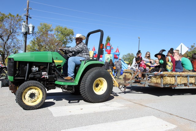 A hayride take Fall Festival-goers to the pumpkin patch Oct. 26, 2019, at Fort Sill's Lake Elmer Thomas Recreation area. The free annual event was expected to draw more than 600 visitors from the Lawton-Fort Sill community.