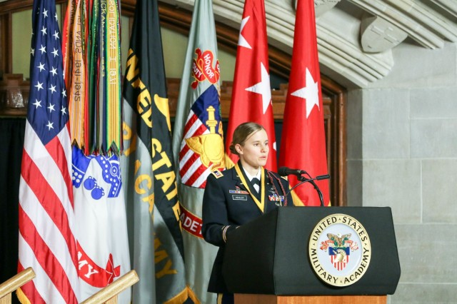 Capt. Lindsay Gordon Heisler, USMA Class of 2012, receives the 2019 Nininger Award presented by the West Point Association of Graduates Thursday, Oct. 25, 2019. Heisler received the award for her actions on Dec. 5, 2015 when she was deployed in Afghanistan. (U.S. Army photo by Brandon O'Connor)