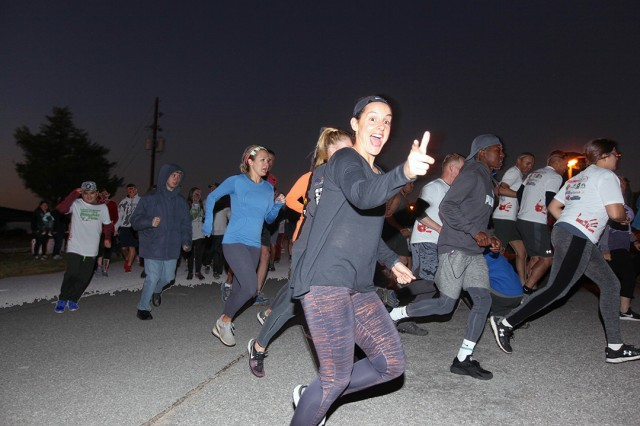Runners begin the 5K Zombie Run Oct. 26, 2019, at LETRA, at about 7:05 p.m. Their route featured zombies strategically placed throughout the course.