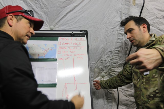 The 7th Infantry Division's Sgt. 1st Class Robert B. Groszmann discusses signal propagation Chris Paschal, a contractor with L3 Harris supporting 1st Group Special Operations Forces, during exercise Noble Skywave at Joint Base Lewis-McChord, Washington, Oct. 23, 2019. A team of 7th Infantry Division Soldiers, 1st Group Special Operations Forces, and airmen from the 22nd Special Tactics Squadron represented JBLM in the competition, testing their abilities against 146 military signal teams from around the world in a series of high-frequency radio challenges while furthering the shared understanding between the service members.  (U.S. Army photo by Sgt. C. Drew Nevitt, 7th Infantry Division)