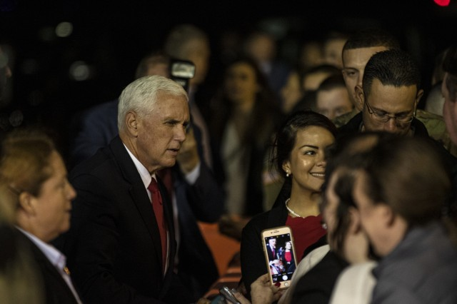 Vice President Mike Pence greets Soldiers and their families upon his arrival at Robert Army Gray Airfield, Fort Hood, Texas, Oct. 28, 2019. The Vice President will be delivering remarks to U.S. Army uniformed and civilian personnel Tuesday at Fort Hood. (U.S. Army Photo by Pfc. Alisha Edwards, 7th Mobile Public Affairs Detachment).