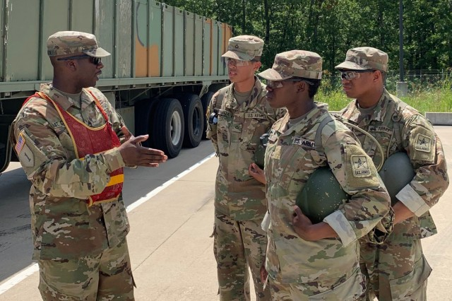 Sgt. 1st Class Wayne St. Croix, left, 58th Transportation Battalion instructor, was recently named the National Defense Transportation Association's Instructor of the Year.