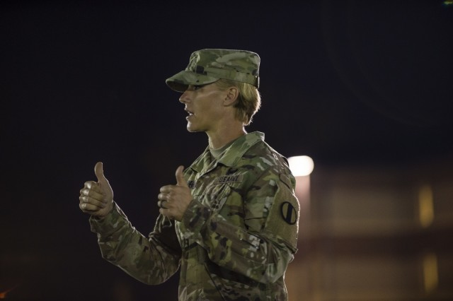 Master Sgt. Shelley Horner, with the Center for Initial Military Training, U.S. Army Training and Doctrine Command, gives instruction to top command sergeants major from across the U.S. Army Reserve before they perform the Army Combat Fitness Test (ACFT) at Fort Eustis, Va., Oct. 25, 2019, during the Army Reserve Senior Enlisted Council. The council is a three-day event hosted by Command Sgt. Maj. Ted Copeland, the U.S. Army Reserve's senior enlisted leader. During the workshop the enlisted leaders tackled various topics that affect Soldiers' readiness, training and professional development. They conducted a practice ACFT as they lead the effort to implement the new test over the next 12 months before it becomes the official fitness test of record across the U.S. Army.