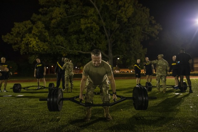 Command Sgt. Maj. Dennis Law, senior enlisted leader for the 412th Theater Engineer Command, performs the dead lift during a practice Army Combat Fitness Test (ACFT) at Fort Eustis, Va., Oct. 25, 2019, during the Army Reserve Senior Enlisted Council. The council is a three-day event hosted by Command Sgt. Maj. Ted Copeland, the U.S. Army Reserve's senior enlisted leader. During the workshop the enlisted leaders tackled various topics that affect Soldiers' readiness, training and professional development. They conducted a practice ACFT as they lead the effort to implement the new test over the next 12 months before it becomes the official fitness test of record across the U.S. Army.
