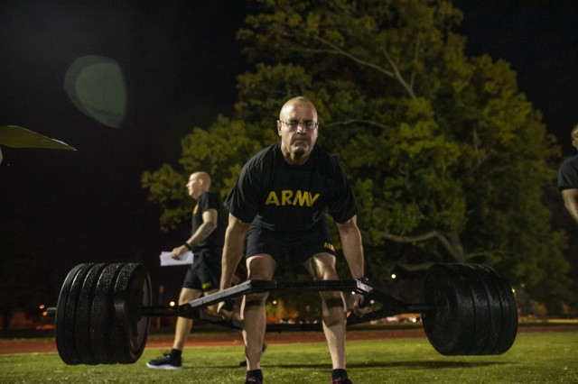 Command Sgt. Maj. Ted Copeland, command sergeant major of the U.S. Army Reserve, performs the deadlift during a practice Army Combat Fitness Test (ACFT) at Fort Eustis, Va., Oct. 25, 2019, during the Army Reserve Senior Enlisted Council. The council is a three-day event hosted by Copeland. During the workshop the enlisted leaders tackled various topics that affect Soldiers' readiness, training and professional development. They conducted a practice ACFT as they lead the effort to implement the new test over the next 12 months before it becomes the official fitness test of record across the U.S. Army.