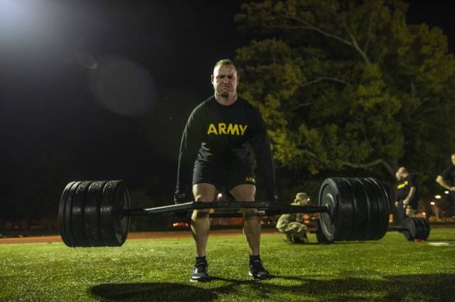 Master Sgt. George Picard, executive administrative assistant to the command sergeant major of the U.S. Army Reserve, performs the deadlift event for a practice Army Combat Fitness Test (ACFT) at Fort Eustis, Va., Oct. 25, 2019, during the Army Reserve Senior Enlisted Council. The council is a three-day event hosted by Command Sgt. Maj. Ted Copeland, the U.S. Army Reserve's senior enlisted leader. During the workshop the enlisted leaders tackled various topics that affect Soldiers' readiness, training and professional development. They conducted a practice ACFT as they lead the effort to implement the new test over the next 12 months before it becomes the official fitness test of record across the U.S. Army.