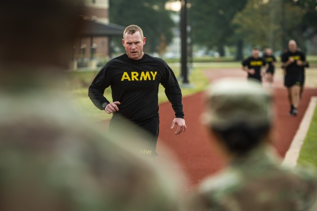 Master Sgt. George Picard, executive administrative assistant to the command sergeant major of the U.S. Army Reserve, finishes the two-mile run for a practice Army Combat Fitness Test (ACFT) at Fort Eustis, Va., Oct. 25, 2019, during the Army Reserve Senior Enlisted Council. The council is a three-day event hosted by Command Sgt. Maj. Ted Copeland, the U.S. Army Reserve's senior enlisted leader. During the workshop the enlisted leaders tackled various topics that affect Soldiers' readiness, training and professional development. They conducted a practice ACFT as they lead the effort to implement the new test over the next 12 months before it becomes the official fitness test of record across the U.S. Army.