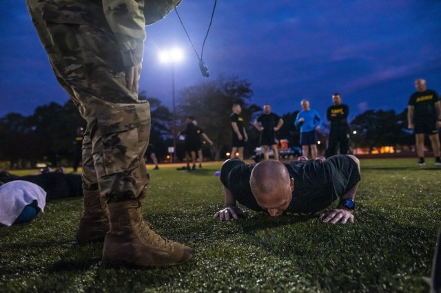 Command Sgt. Maj. Ted Copeland, command sergeant major of the U.S. Army Reserve, performs the hand release push-up event for a practice Army Combat Fitness Test (ACFT) at Fort Eustis, Va., Oct. 25, 2019, during the Army Reserve Senior Enlisted Council. The council is a three-day event hosted by Copeland. During the workshop the enlisted leaders tackled various topics that affect Soldiers' readiness, training and professional development. They conducted a practice ACFT as they lead the effort to implement the new test over the next 12 months before it becomes the official fitness test of record across the U.S. Army.