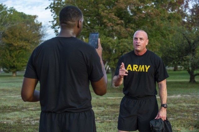 Command Sgt. Maj. Ted Copeland, command sergeant major of the U.S. Army Reserve, records a social media message to the troops after completing a practice Army Combat Fitness Test (ACFT) at Fort Eustis, Va., Oct. 25, 2019, during the Army Reserve Senior Enlisted Council. The council is a three-day event hosted by Copeland. During the workshop the enlisted leaders tackled various topics that affect Soldiers' readiness, training and professional development. They conducted a practice ACFT as they lead the effort to implement the new test over the next 12 months before it becomes the official fitness test of record across the U.S. Army.