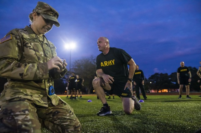 Command Sgt. Maj. Ted Copeland, command sergeant major of the U.S. Army Reserve, gets up from the ground after the hand release push-up event for a practice Army Combat Fitness Test (ACFT) at Fort Eustis, Va., Oct. 25, 2019, during the Army Reserve Senior Enlisted Council. The council is a three-day event hosted by Copeland. During the workshop the enlisted leaders tackled various topics that affect Soldiers' readiness, training and professional development. They conducted a practice ACFT as they lead the effort to implement the new test over the next 12 months before it becomes the official fitness test of record across the U.S. Army.