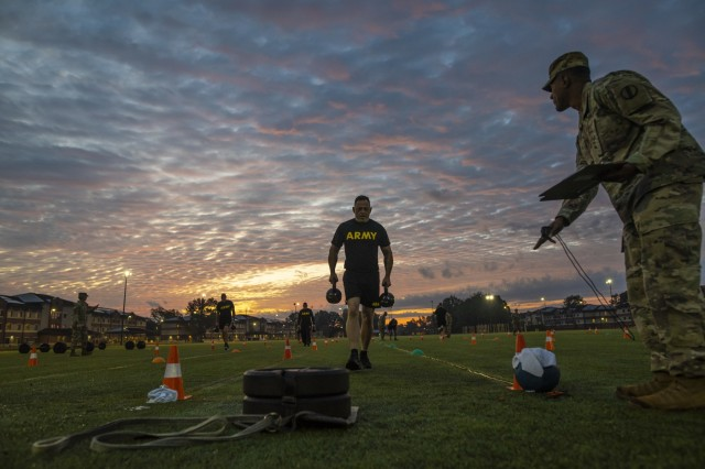 The top command sergeants major from across the U.S. Army Reserve perform the sprint-drag-carry event for a practice Army Combat Fitness Test (ACFT) at Fort Eustis, Va., Oct. 25, 2019, during the Army Reserve Senior Enlisted Council. The council is a three-day event hosted by Command Sgt. Maj. Ted Copeland, the U.S. Army Reserve's senior enlisted leader. During the workshop the enlisted leaders tackled various topics that affect Soldiers' readiness, training and professional development. They conducted a practice ACFT as they lead the effort to implement the new test over the next 12 months before it becomes the official fitness test of record across the U.S. Army.