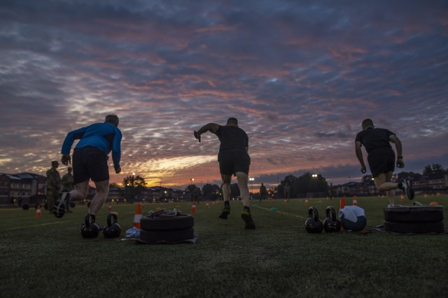 The Army Reserve sergeants major from the United Kingdom and Australia join top command sergeants major from across the U.S. Army Reserve in the sprint-drag-carry event for a practice Army Combat Fitness Test (ACFT) at Fort Eustis, Va., Oct. 25, 2019, during the Army Reserve Senior Enlisted Council. The council is a three-day event hosted by Command Sgt. Maj. Ted Copeland, the U.S. Army Reserve's senior enlisted leader. During the workshop the enlisted leaders tackled various topics that affect Soldiers' readiness, training and professional development. They conducted a practice ACFT as they lead the effort to implement the new test over the next 12 months before it becomes the official fitness test of record across the U.S. Army.
