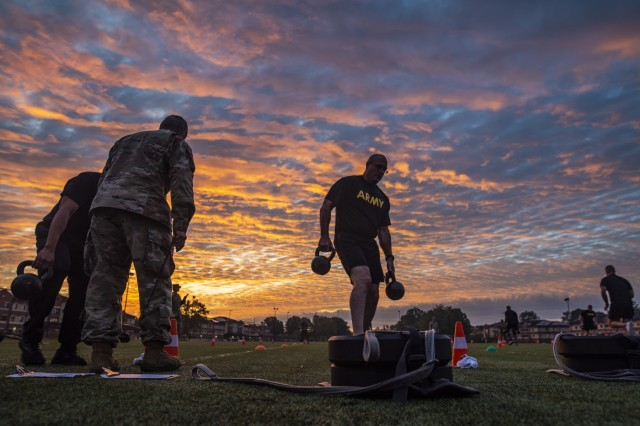 Command Sgt. Maj. Ted Copeland, command sergeant major of the U.S. Army Reserve, performs the sprint-drag-carry event for a practice Army Combat Fitness Test (ACFT) at Fort Eustis, Va., Oct. 25, 2019, during the Army Reserve Senior Enlisted Council. The council is a three-day event hosted by Copeland. During the workshop the enlisted leaders tackled various topics that affect Soldiers' readiness, training and professional development. They conducted a practice ACFT as they lead the effort to implement the new test over the next 12 months before it becomes the official fitness test of record across the U.S. Army.
