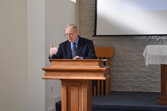 Guest speaker Dr. William (Don) Wright talks about the importance of being aware during a National Disability Employment Awareness Month observance Oct. 21 in the Clay Kaserne Chapel.