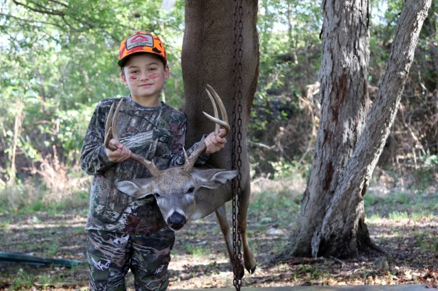 Slade Stewart age 9 bagged this 138 pound buck during the second annual Hugo Lake youth hunt, held in Hugo Lake's Kiamichi Park recreation area.
