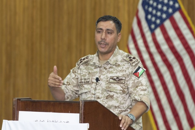 Jordan Armed Forces-Arab Army Brig. Gen. Hatem Zubabi, field artillery commander, gives remarks during a ceremony that formally commenced the joint training exercise Decisive Spear at Joint Training Center-Jordan October 31, 2019. The U.S. is committed to the security of Jordan and to partnering closely with the JAF to meet common security challenges.