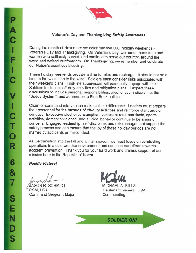 Veteran's Day and Thanksgiving Safety Awareness